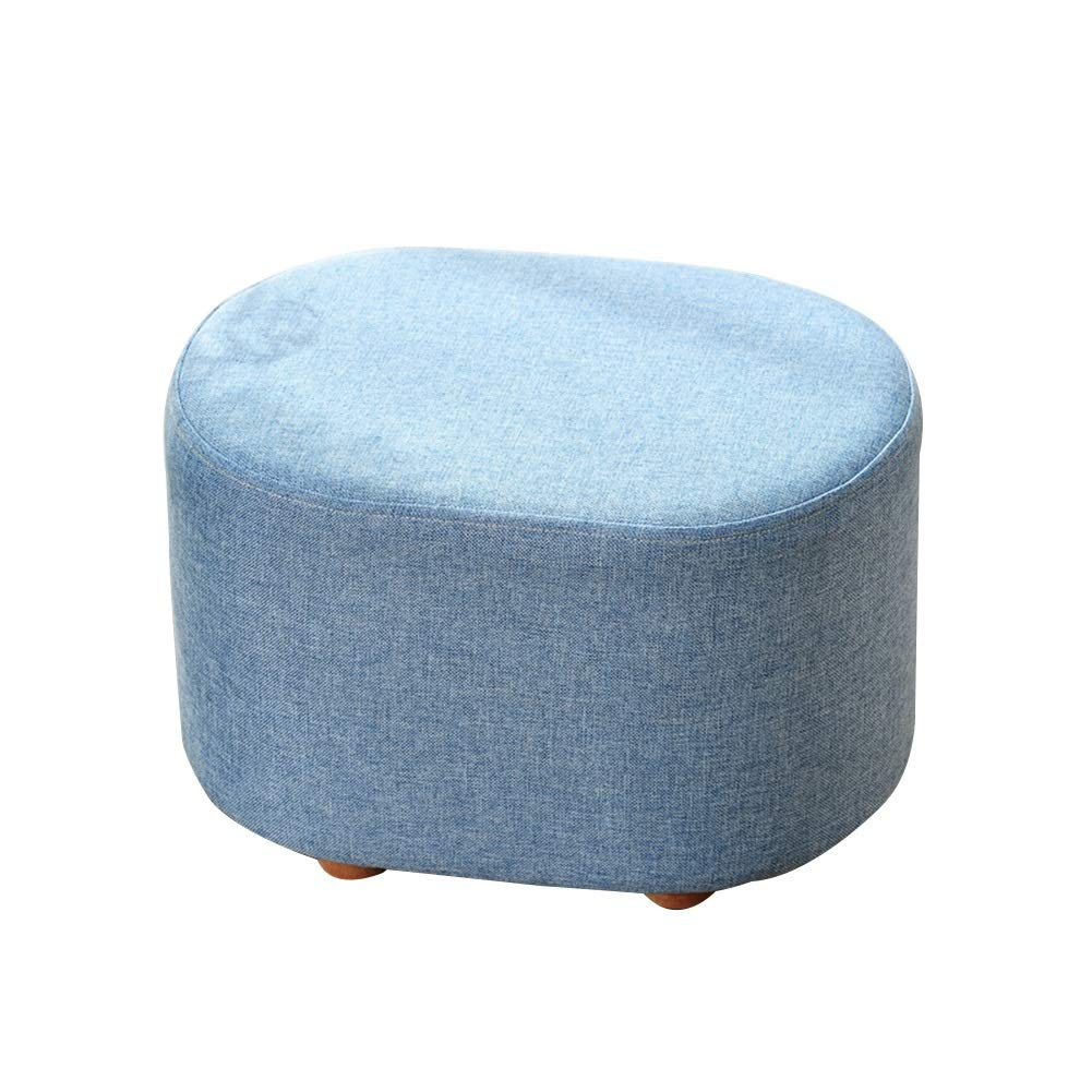 LIXIONG Outdoor Ottomans Footstools Household Beech Oval Cotton and Linen Solid Color Sofa Stool, Bearing 100KG, 3 Colors (Color : Blue)
