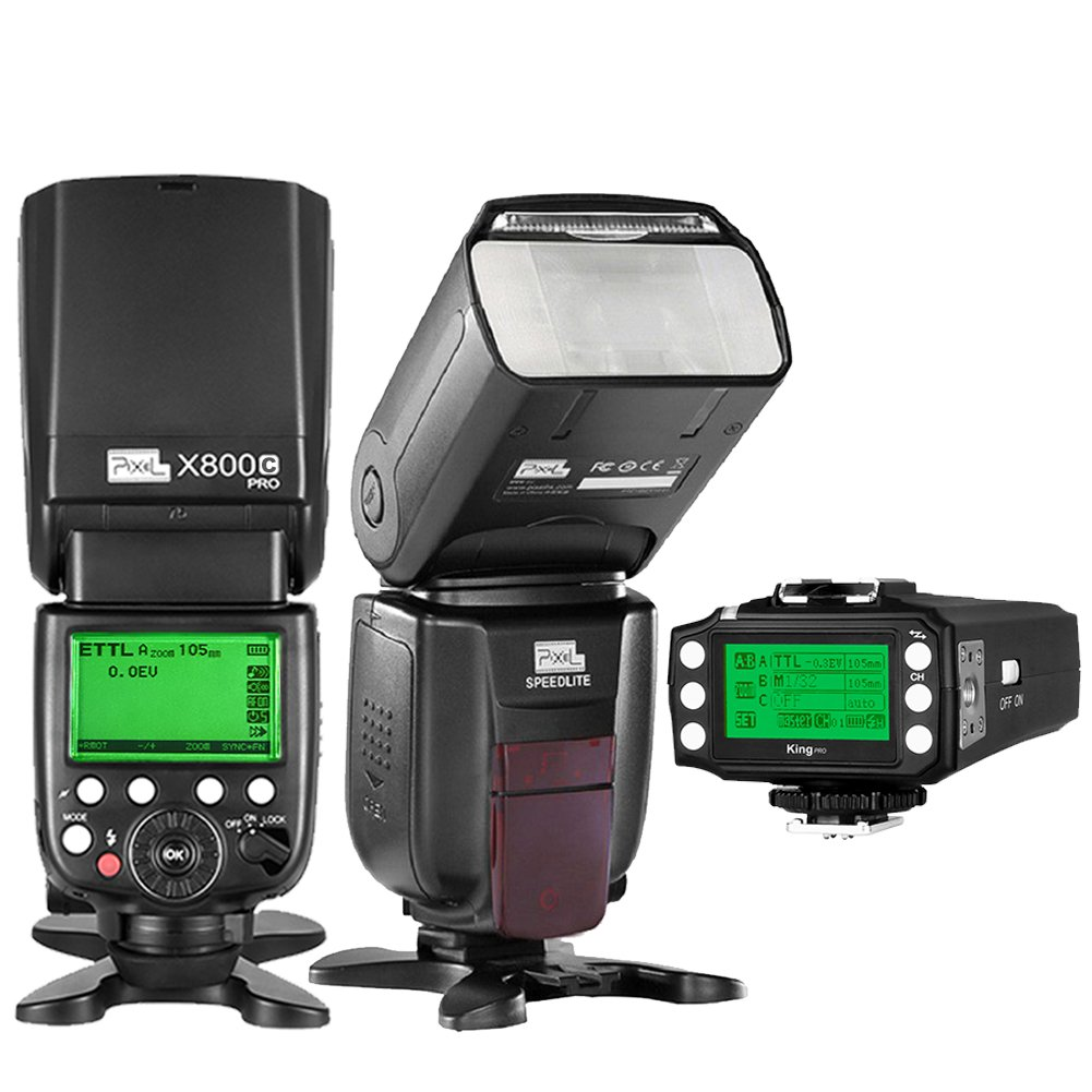 PIXEL TTL 1/8000S 2.4GHz Wireless Flash Speedlite kit X800 2PCS+King PRO Flash Trigger Remote Controller for Canon EOS DLSR Cameras