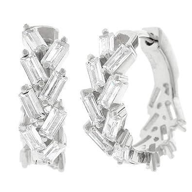 836ac9a13 Amazon.com: .925 Sterling Silver Womens Fancy Clear CZ Baguette Cubic  Zirconia Stone Round Huggie Hoop Earrings (White): Jewelry