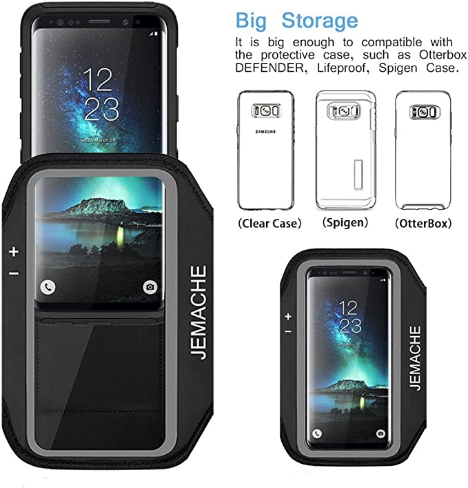 Lifeproof Case Black JEMACHE Gym Running Exercises Workouts Phone Arm Band for Samsung Galaxy S10//S9//S8//S7 Edge Fits Otterbox Defender Galaxy S10//S9//S8 Armband