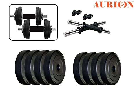 858b65cfadb Buy Aurion 16 Kg Dumbbell Set Combo Offer (Black) Online at Low Prices in  India - Amazon.in