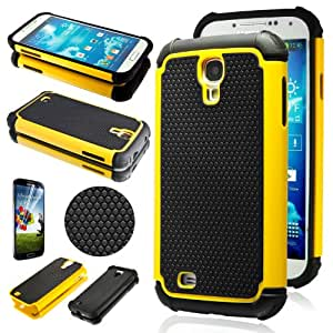 Shockproof Armor Rugged Protector Hard Case Silicone Cover for Samsung Galaxy S4 SIV i9500 (Yellow)