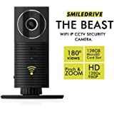 Smiledrive The Beast HD Panoramic IP CCTV Cam with 180 Degree Viewing Angle, Zoom Function, Night Vision, 2 Way Talk, 128GB Micro SD Card Slot (Black)