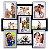 Hello Laura - 9 Opening 18'' x 18'' Wall Hanging Photo Frame, 6'' x 4'' Photo Sockets x 9, Black & Sliver Edge | Gallery Style