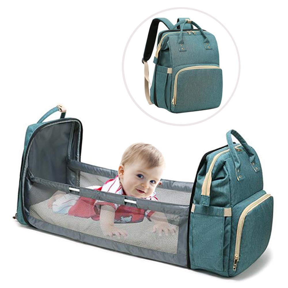 Travel Home Black 3 in 1 Portable Foldable Baby Bed,Baby Travel Sleeping Bag,Diaper Bag with Changing Station Multi-Function Large-Capacity Mommy Bag with Mattress for Newborn Baby Toddler