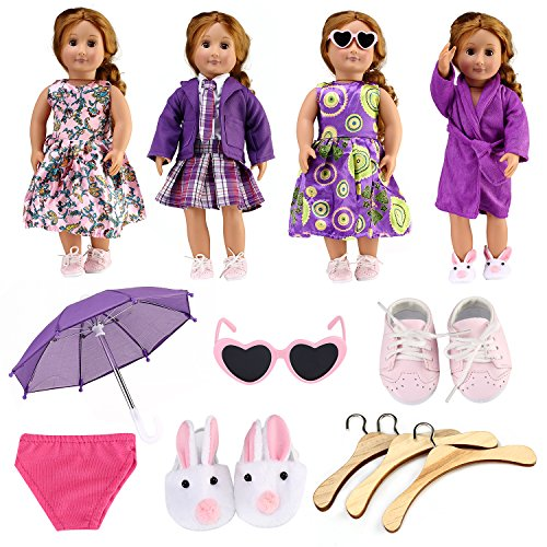 American Girl Doll Accessory Value Pack - 18 Inch - Outfits (3) + Bath Robe (1) + Sunglasses (1) + Hangers (3) + Umbrella (1) + Pink Undies (1) + - Sunglasses 1112