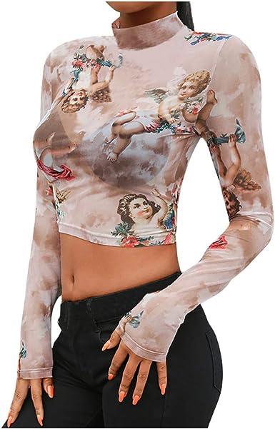 Women Retro Mesh Stretch Slim Turtleneck Basic Top Pullover Fall Winter Blouse