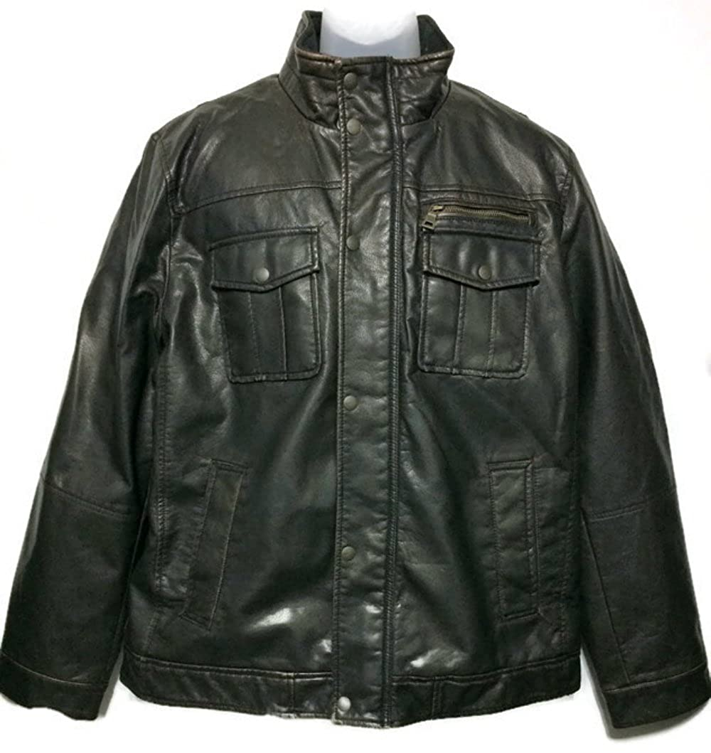 561fcb394 Bass G.H Mens Size 2X-Large Leather Look Jacket, Dark Brown at ...