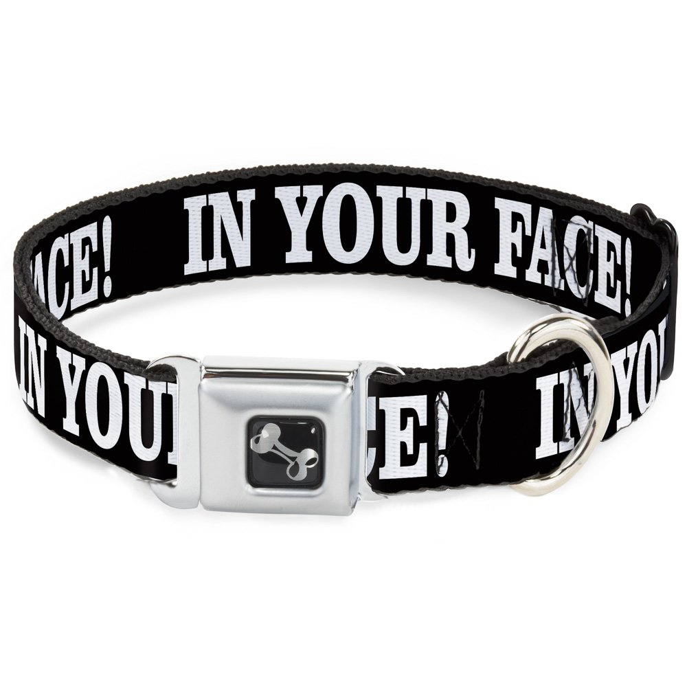 Buckle-Down Seatbelt Buckle Dog Collar in Your FACE Black White 1.5  Wide Fits 13-18  Neck Small