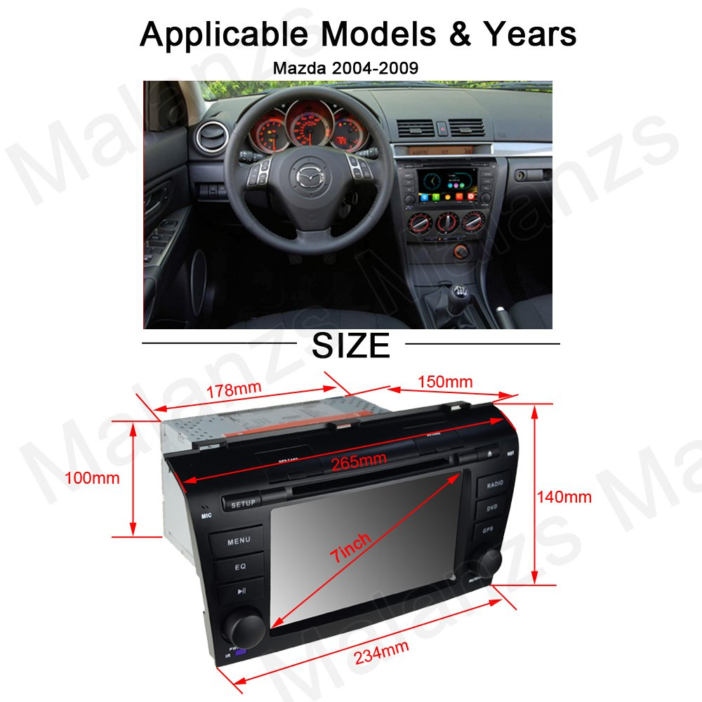 "Amazon.com: DVD GPS Navigation for Mazda 3 2004-2009 Radio Stereo with  Navigation SD Card + Backup Camera AM FM Bluetooth 3G 1080p Canbus 7"" Touch  Screen ..."
