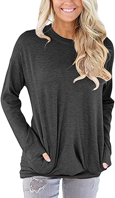 sandinged Women Casual Autumn Sweatshirt Long Sleeve O-Neck Pullover Tops Fashion Sweatshirts