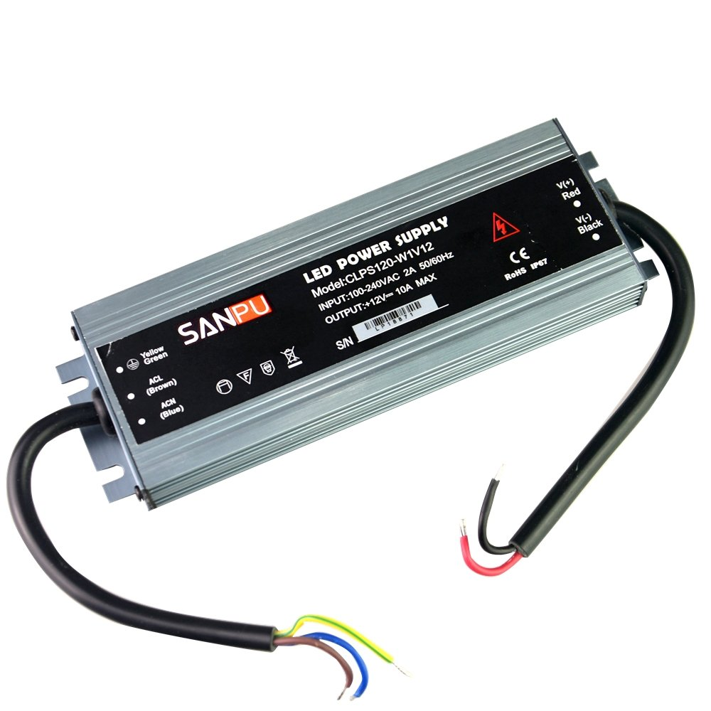 IP67 Waterproof Power Supply 12V 120W 10A Constant Voltage AC to DC 12 Volt Lighting Transformer LED Driver 12VDC Slim Aluminum Shell (SANPU CLPS120-W1V12)