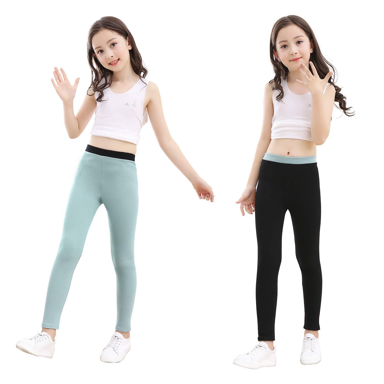 slaixiu Cotton Ankle Length Girls Leggings Warm Stretchy Kids Pants 3-Pack 3-12y(No.5_120)