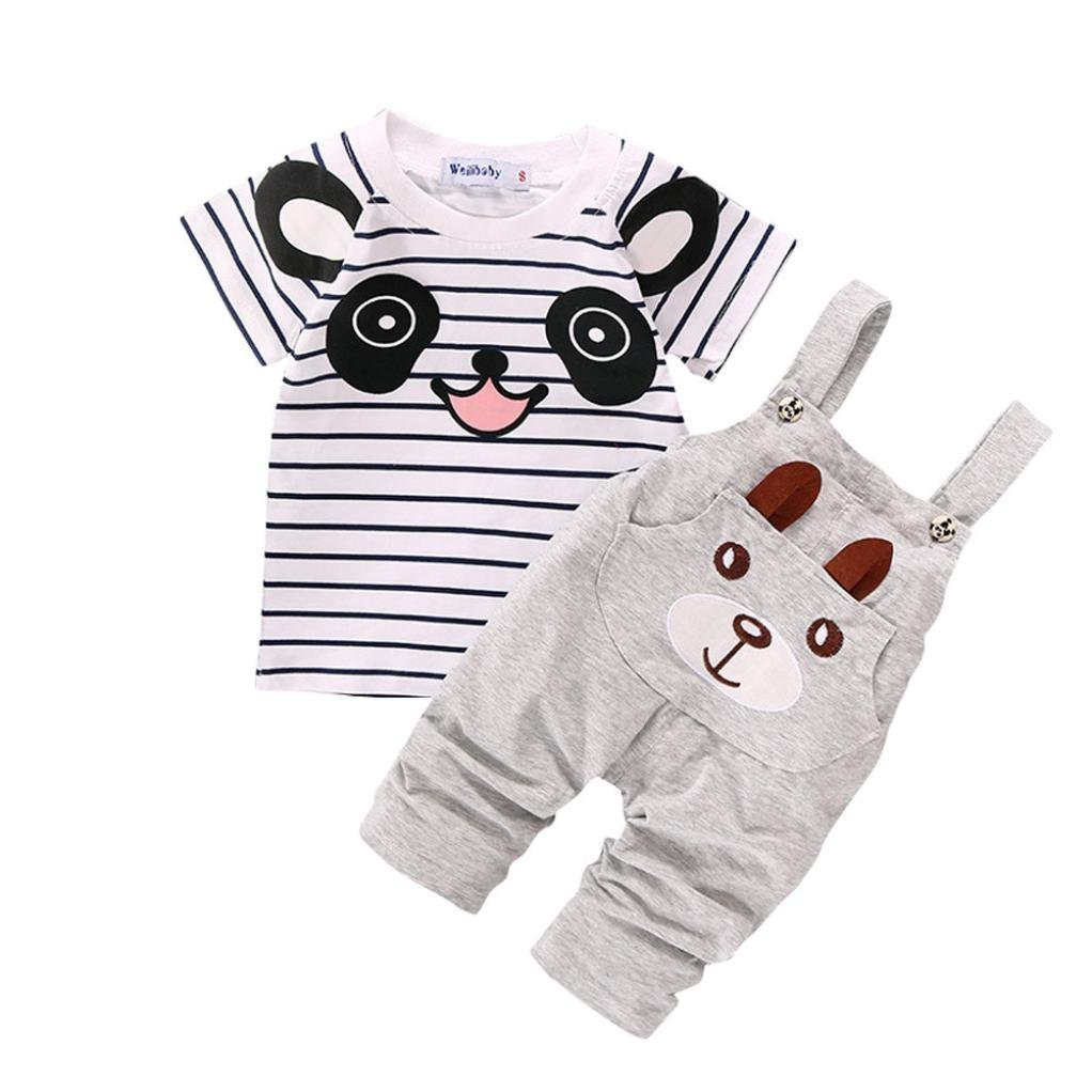 Toddler Baby Bib Pants Overall Set,Cute Little Bear Stripe Short-Sleeve Top T Shirt Straps Romper Pocket 0-4Years Aritone BE-35
