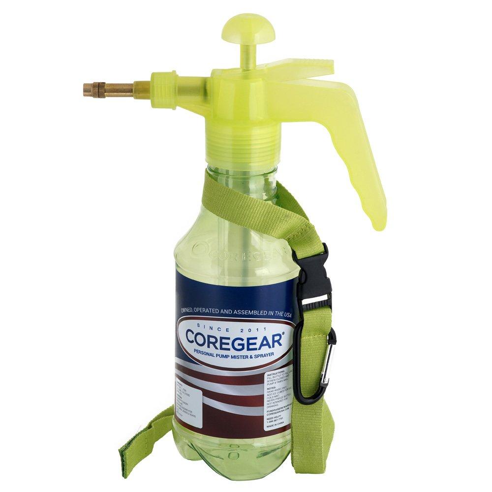 COREGEAR USA Misters 1-Liter Pump Mister & Sprayer Bottle with Strap and Bag Clip (Lime)