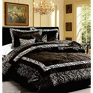 Dovedote Safarina Zebra Animal Print Comforter Set, Queen - Black White