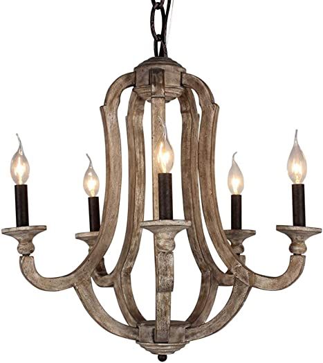 LITUP Vintage Rustic Metal 5 Candle Holder Light Wooden Chandelier Chandeliers W22.5xH24.33 Inch Farmhouse Ceiling Pendant Chandelier Light Swag Lamp Fixture Foyer Dinning Room Lighting