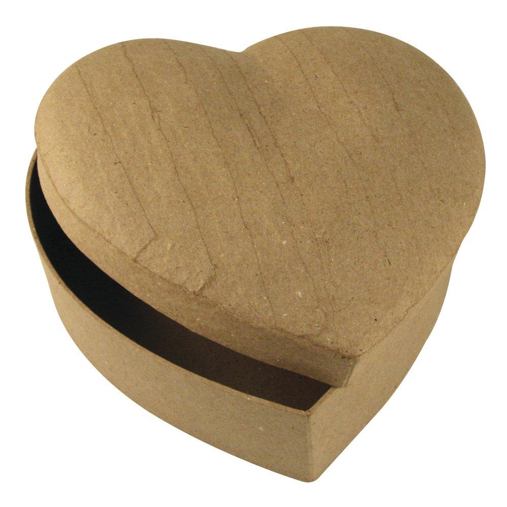 Rayher 7132100 scatola in cartapesta a forma di cuore 15, 5 x 15, 5 x 6, 5 cm 100% material naturale riciclato colore neutro da colorare decorare fai da te regali Rayher Hobby
