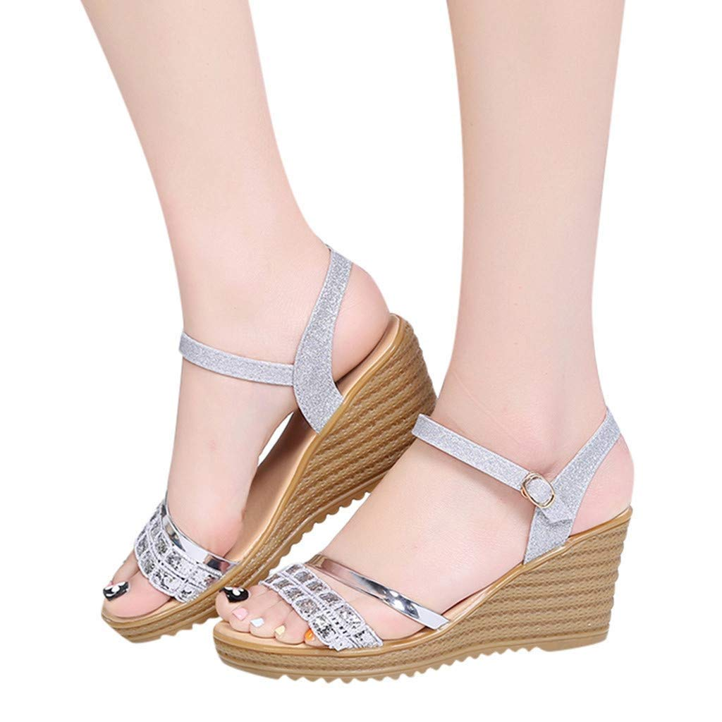 Gobling Womens Leisure Platforms Shoes Fashion Fixed Band Anti-Slip Roman Sandals Spring Summer Urban Trend All-Match Metal Buckle Sling Back Wedge Sandals (Color : Silver, Size : 6 M US)