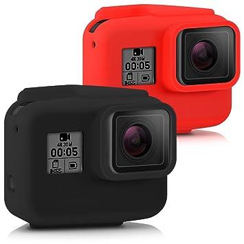 kwmobile 2X Funda para GoPro Hero 5 - Carcasa de Silicona para cámara Deportiva - Cover 360 Negro/Rojo