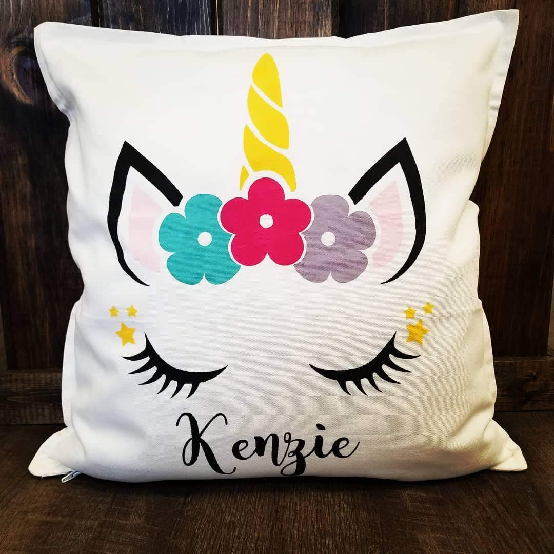 Unicorn Pillow Cover, Personalized Pillow Cover, Birthday Gift, Kids Pillow Cover, Nursery, Christmas, Birthday Gifts