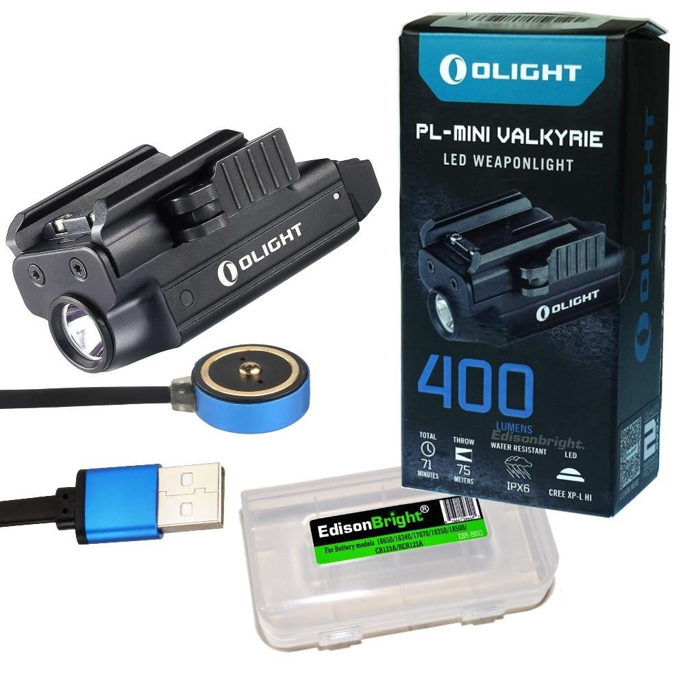 Olight PLMINI (PL MINI) 400 Lumen Magnetic USB Rechargeable Pistol Light with EdisonBright charging cable carry case