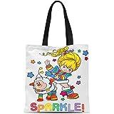 Semtomn Cotton Canvas Tote Bag Happy Easter Bunny Cute Rabbit Geek Nerd Character Funny Reusable Shoulder Grocery Shopping Bags Handbag Printed
