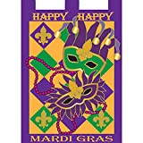 Cheap Happy Happy Mardi Gras Masks 18 x 13 Rectangular Double Applique Small Garden Flag