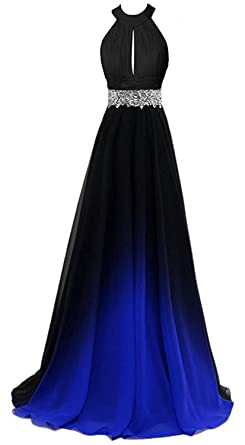 73b27cc3f90 HEAR Women s Halter Gradient Chiffon Long Prom Dress Ombre Beads Evening  Dresses Hear040 Blue4 0