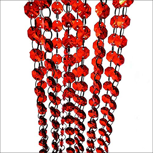 (33 Feet Red Acrylic Crystal Beaded Curtain for Easy Home Office Decor with Thick Privacy / Welcome Home Decor / DIY Jewelry Making (10 pcs))