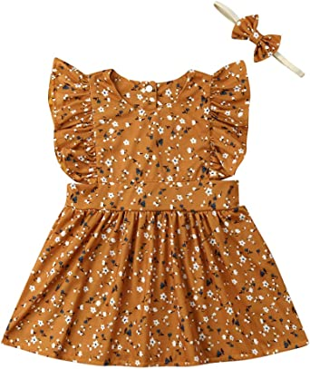 Toddler Kids Baby Girl Matching Floral Clothes Romper Tutu Dress Headband Outfit