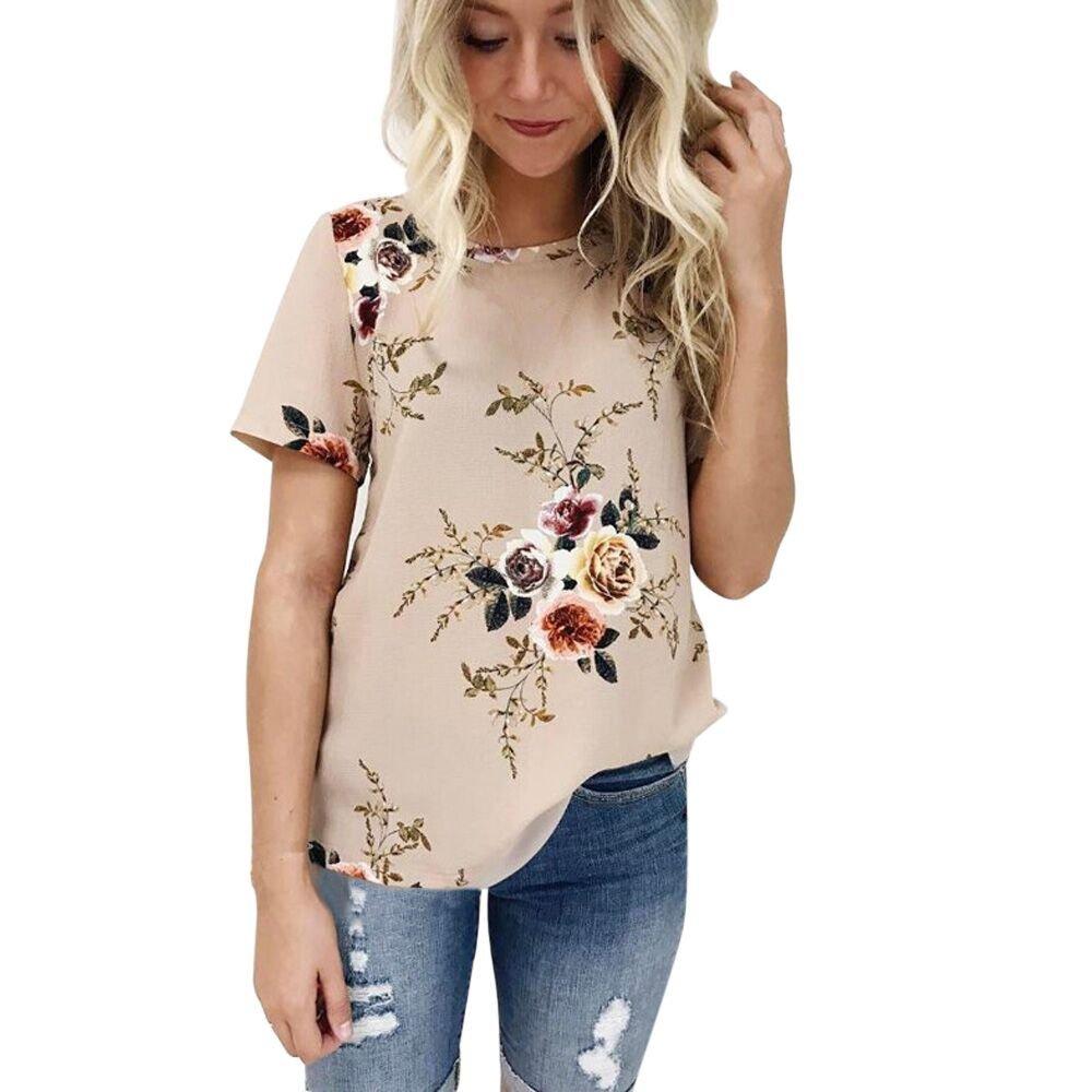 Women Floral Printing Short Sleeve Blouse Plus Size Casual Loose T Shirt Khaki