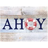 Ahoy Lifesaver Blue Grey Distressed Antique Cabin Wall Art Decoration Plaque Sign Home Craft Sign for Women Men Housewarming Gift