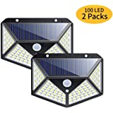 Solar Sensor Wall Light 100 LED Outdoor Security Lights, IP65 Waterproof Night Lamp with 270°Wide Angle and 3 Modes Motion Sensor for Garage, Porch, Front Door, Swimming Pool, Garden, Yard(2 Packs)
