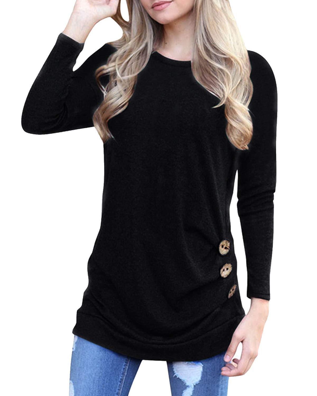 deesdail Womens Long Sleeve Casual T Shirts Button Trim Loose Tunic Tops Black