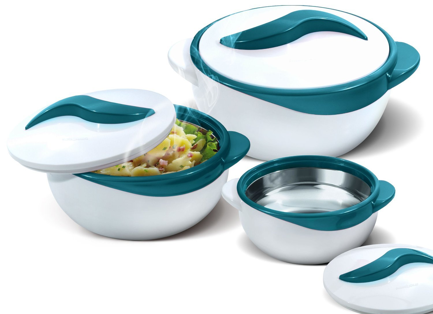 Pinnacle Serving Salad/ Soup Dish Bowl - Thermal Insulated Bowl with Lid -Great Bowl for Holiday, Dinner and Party ~ Set of 3 ~ Turquoise by Pinnacle Thermoware