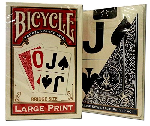 Bicycle Large Print Bridge Playing Cards 2 Decks -(1) Red, (1) (Large Print Playing Cards)