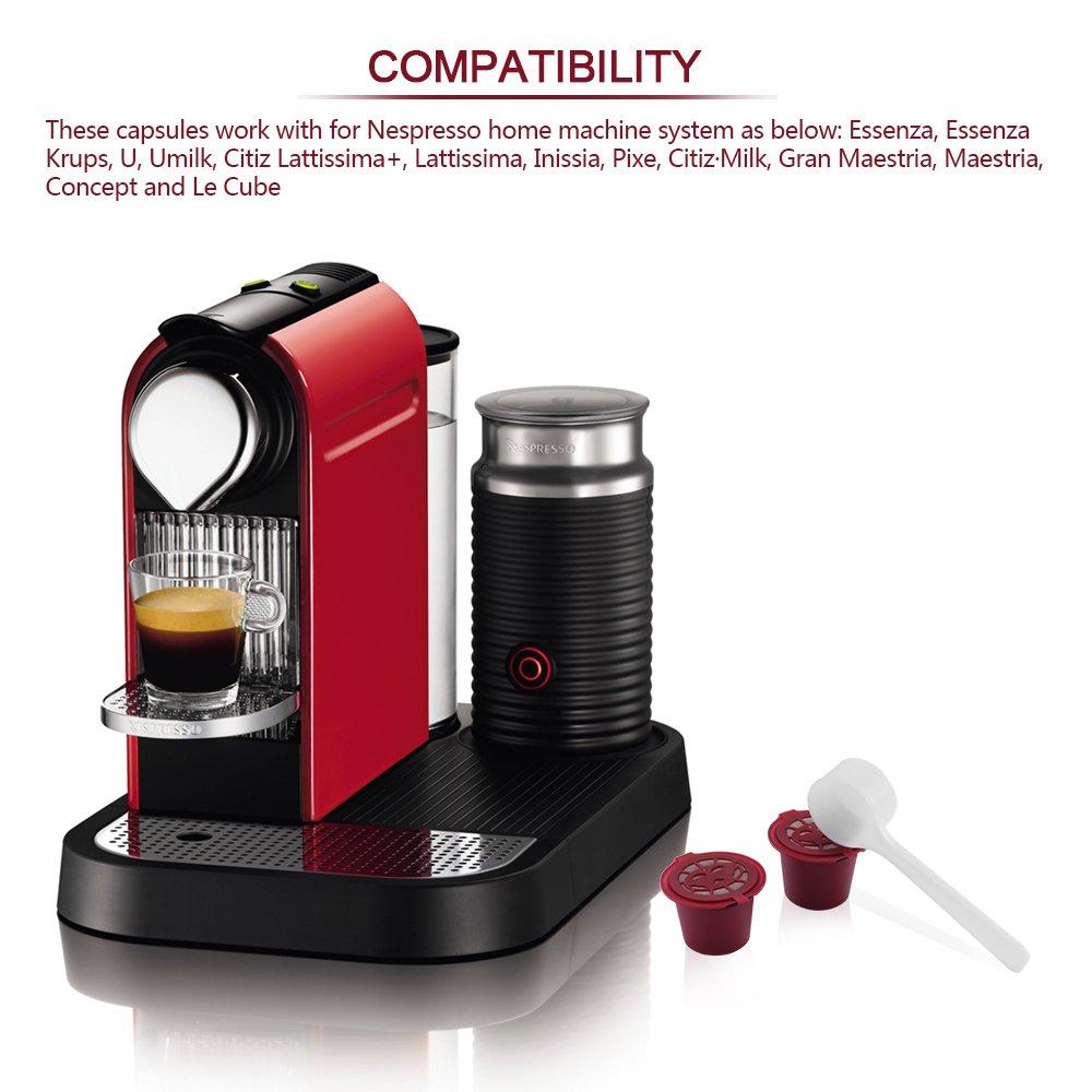 ALLOMN 2 Cápsulas Nespresso Recargables Reutilizables con Cepillo Cuchara para Nescafe (2 Paquetes, Rojo): Amazon.es: Hogar