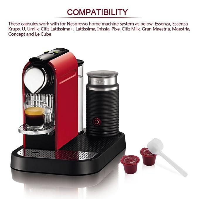 Powstro - Cápsulas de café Recargables para Nespresso, Filtro de cápsulas de café Recargable, Compatible con máquinas de café Nespresso con Cepillo de ...