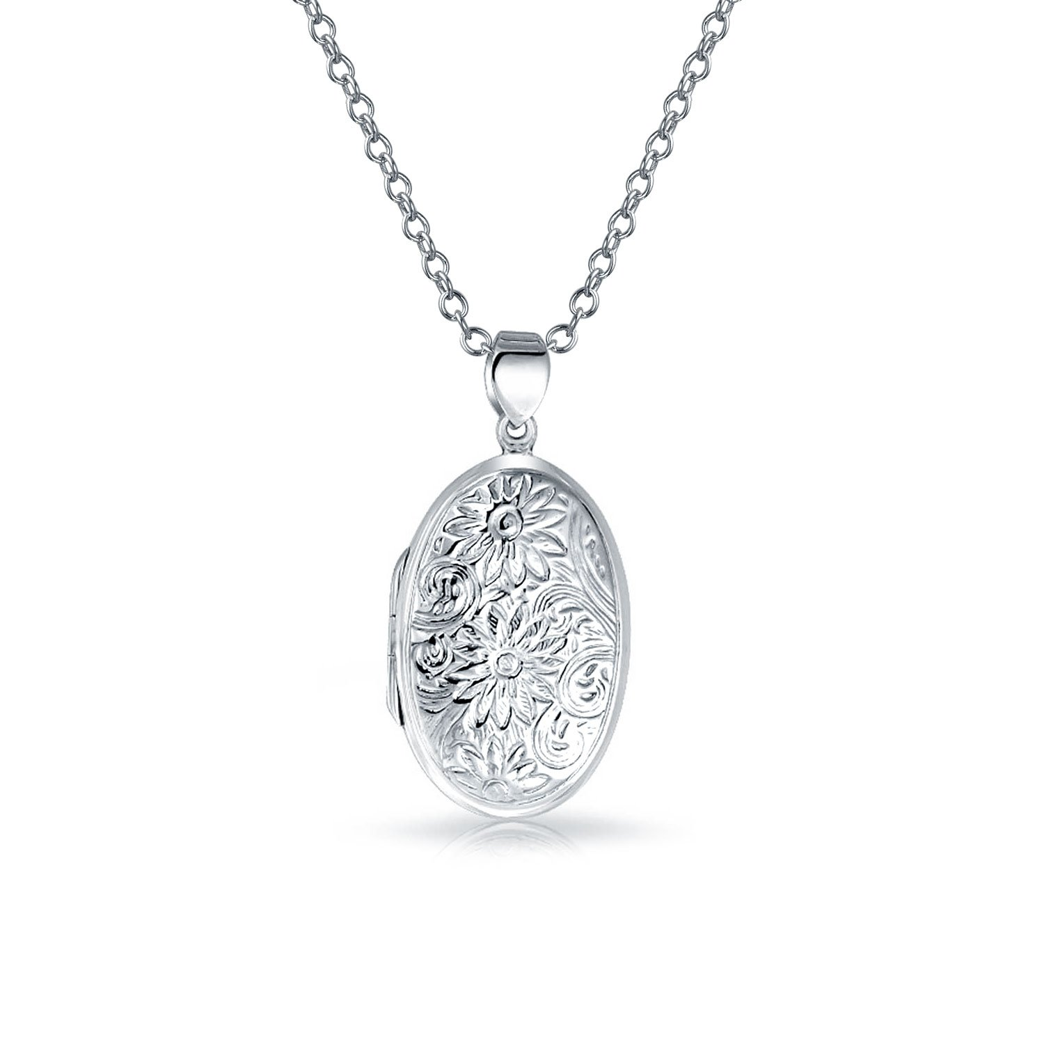 Bling Jewelry Sunflower Oval Locket Pendant Sterling Silver Necklace 18 Inches PMR-L10239
