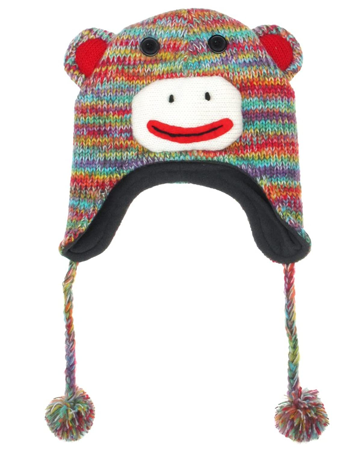 "Capelli New York ""Funky Monkey"" Soft Knit Earflap Hat With 3d Knit Parts & Buttons"