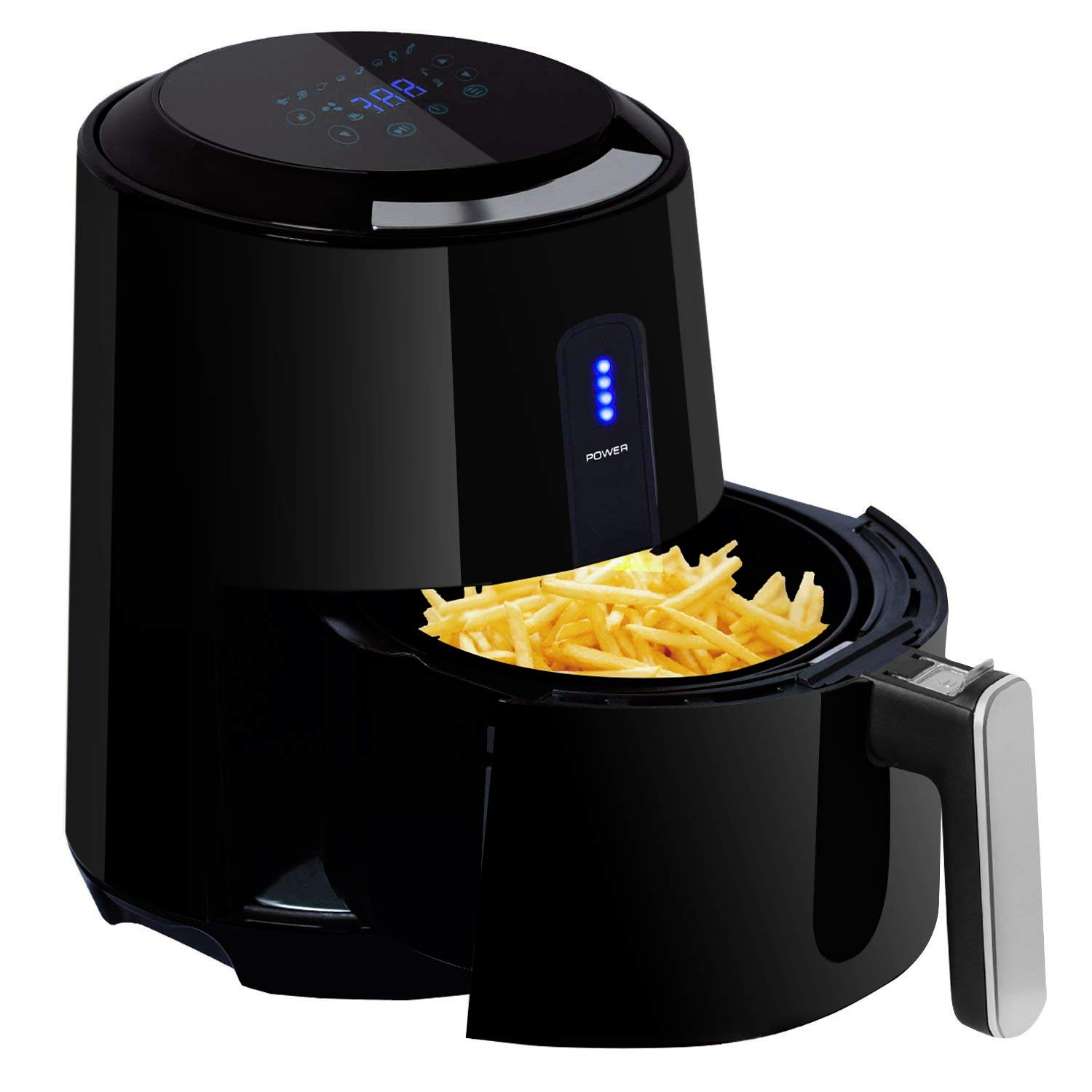 Air Fryer, POSAME 3QT Programmable 8-in-1 Digital Air Fryer, 1400W Electric Air Fryer with Detachable Basket, LCD Touch Screen
