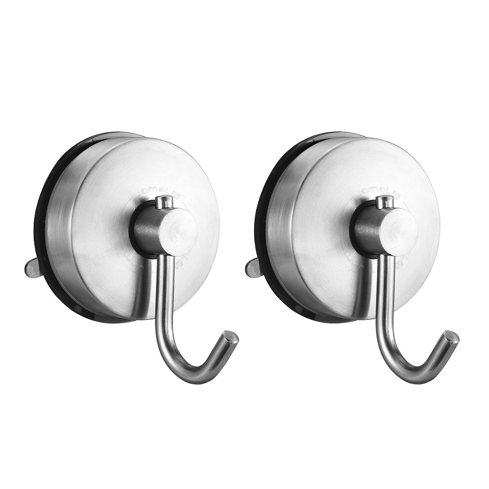 JOMOLA 2PCS Vacuum Suction Cup Single Coat Hook Removable Bathroom Shower Towel Hook Kitchen Wall Hanger SUS304 Stainless Steel Heavy Duty, Brushed Finish
