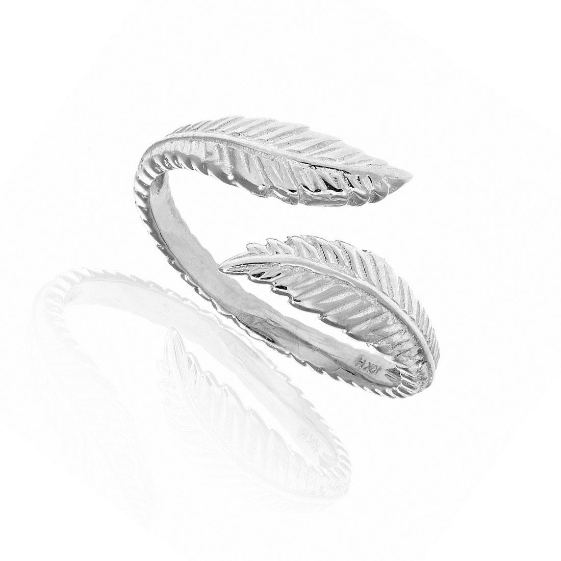 10k White Gold Leaf Cross Over Adjustable Ring or Toe Ring Ritastephens