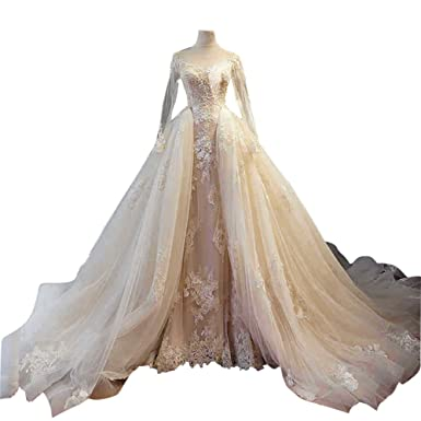 Betaabetaa Detachable Lace Wedding Train With Hook Bridal Champagne