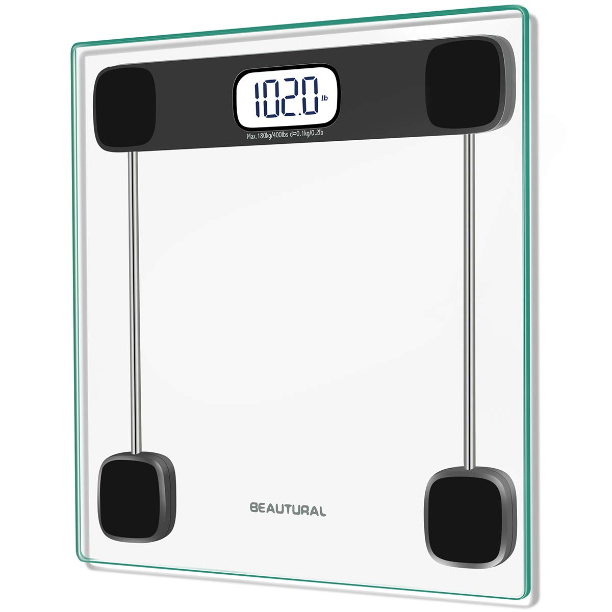 Beautural Precision Digital Body Weight Bathroom Scale with Lighted Display, Step-On Technology, 400 lb