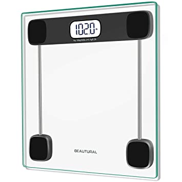 Digital Bathroom Scale | Beautural Precision Digital Body Weight Bathroom Scale With Lighted Display Step On Technology 400 Lb
