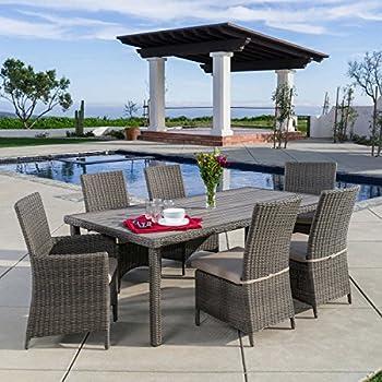 Amazon Com Terra Vista 7 Piece Dining Set With Sunbrella