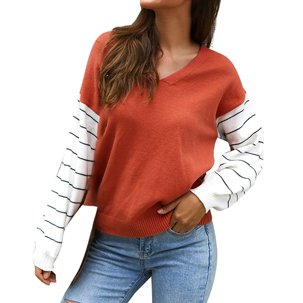 Women V-Neck Stripe Sweater Top Long Sleeve Casual Loose Blouse Red