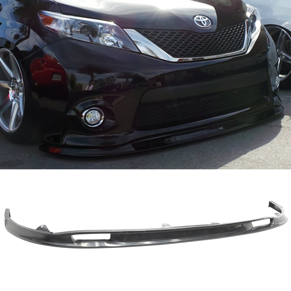 Front Bumper Lip Fits 2011-2016 Toyota Sienna | SK Style Black PU Front Lip Finisher Under Chin Spoiler Add On by IKON MOTORSPORTS | 2012 2013 2014 2015